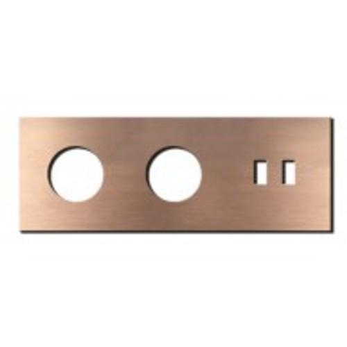 Socket - 3 gang - power + USB outlet - soft copper