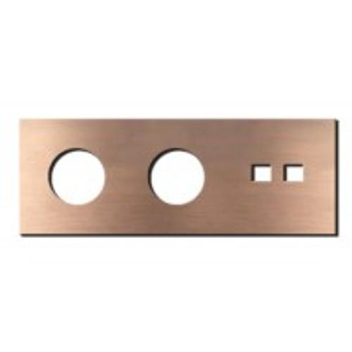 Socket - 3 gang - power + RJ45 outlet - soft copper