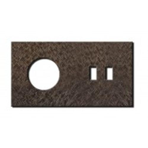 Socket - 2 gang - power + USB outlet - fer forgé bronze