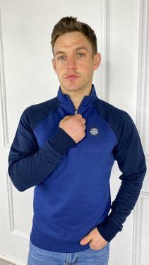Wray Blue and Navy Quarter Zip Jumper