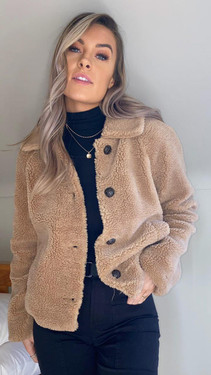 Get That Trend Dalilah Oatmeal Button Down Teddy Jacket