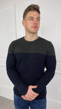 Get That Trend Only and Sons Navy Green Colour Block Crewneck Knit Jumper