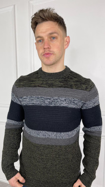 Get That Trend Only and Sons Khaki Black Colour Block Crewneck Knit Jumper