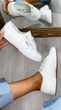 Get That Trend Superga White Leather Trainers