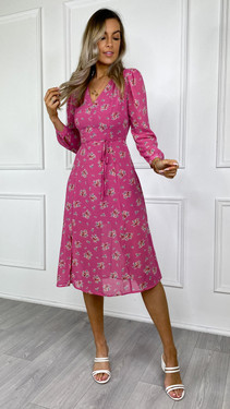 Get That Trend Glamorous Pink Floral Long Sleeve Midi Dress