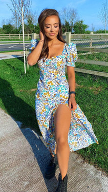 Get That Trend Girl In Mind Sweetheart Cream Ditsy Midi Dress