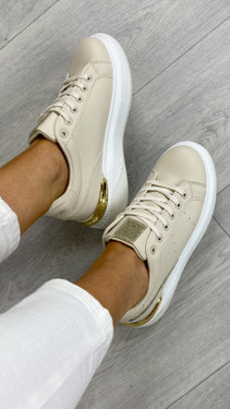 Beige And Gold Chunky Lace Up Trainers