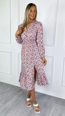 Get That Trend Pink Button Down Floral Printed Midi Dress