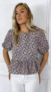 Get That Trend Only Purple Floral Short Sleeve Top