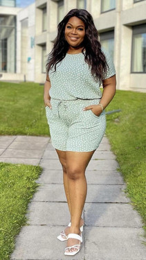 Get That Trend Only Carmakoma Green Polka Dot Shorts