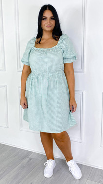 Get That Trend Only Carmakoma Green Checked Dress