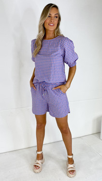 Get That Trend Sisters Point Pink and Blue Checked Shorts