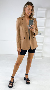 Get That Trend Sisters Point Sand Button Close Blazer