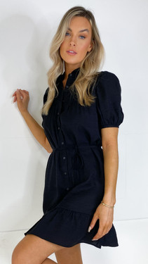 Get That Trend Only Black Collared Button Down Frill Dress