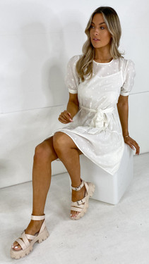 Get That Trend Only Off-White Embroidered Frill Dress