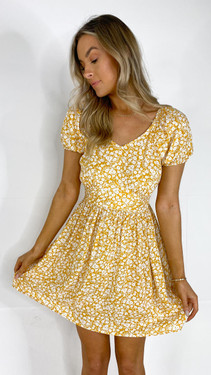 Get That Trend Pieces Mustard Floral Print Dress