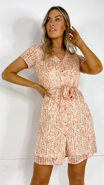 Get That Trend Only Bright Floral Print Button Down Mini Dress