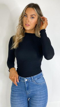 Get That Trend Only Black Long Sleeve High Neck Top