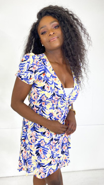 Get That Trend Only Blue and Yellow Printed Wrap Dress