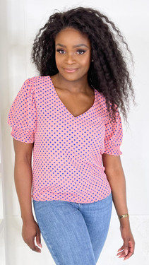 Get That Trend JDY Pink And Blue Polka Dot Smock Top