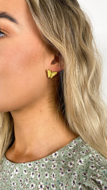 Get That Trend Pieces Butterfly Stud Earrings in Celadine