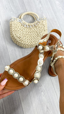 Get That Trend Gold Pearl Detail Strappy Sandals