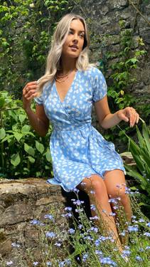 Get That Trend Ivy Lane Blue Daisy Print Wrap Dress
