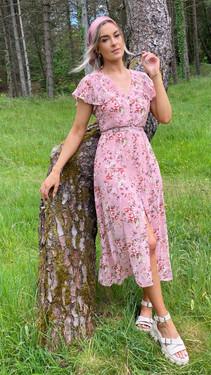 Get That Trend Ivy Lane Dusty Pink Button Down Floral Print Midi Dress