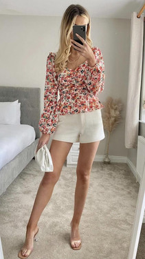 Get That Trend Ivy Lane Floral Print Milkmaid Long Sleeve Top
