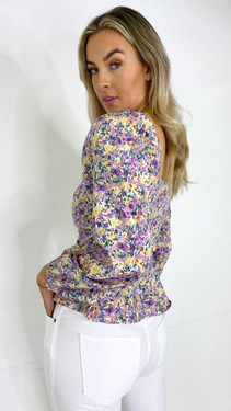 Get That Trend Ivy Lane Lilac Floral Print Milkmaid Long Sleeve Top