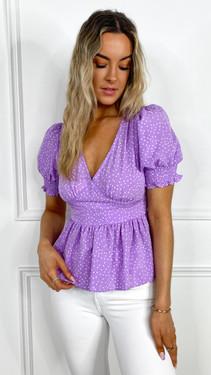 Get That Trend Ivy Lane Purple Polka Dot Peplum Top