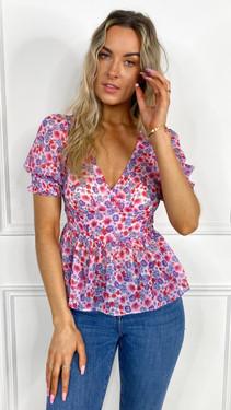 Get That Trend Ivy Lane Floral Print V-Neck Peplum Top