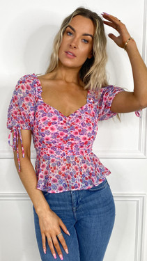 Get That Trend Ivy Lane Pink and Purple Floral Print Milkmaid Top