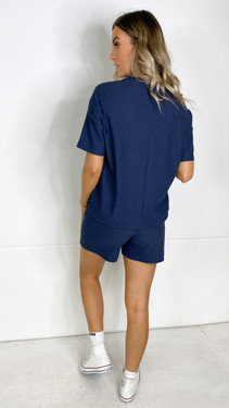 Get That Trend Pieces Navy Ribbed Shorts
