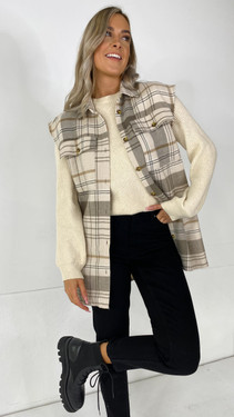 Get That Trend Noisy May Cream And Beige Checked Vest