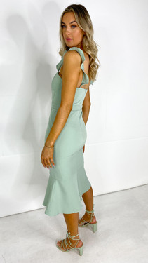 Get That Trend Trendyol Mint Strap Detail Fitted Midi Dress