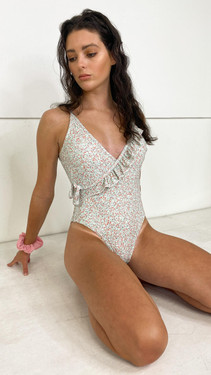 Pieces White Ditsy Floral Swimsuit