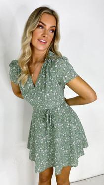 Get That Trend Ivy Lane Green Floral V Neck Mini Dress
