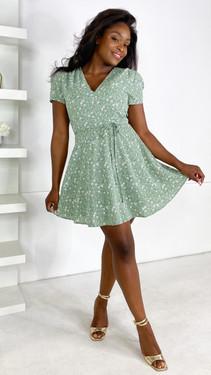 Ivy Lane Green Floral V Neck Mini Dress