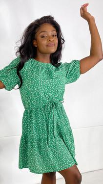 Ivy Lane Green Floral Round Neck Mini Dress