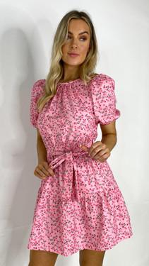 Get That Trend Ivy Lane Rose Floral Round Neck Mini Dress