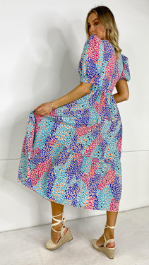 Get That Trend Girl In Mind Mixed Leopard Blue Round Neck Midi Dress