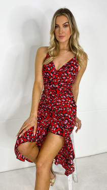 Get That Trend Girl In Mind Red Leopard Wrap Midi Dress