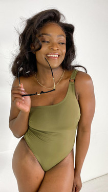 Pieces One Shoulder Swimsuit in Khaki