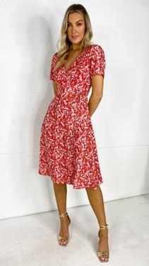 Get That Trend Ivy Lane Red Floral Wrap Midi Dress