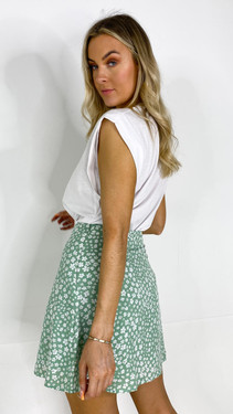 Get That Trend Ivy Lane Green Floral A-Line Skirt