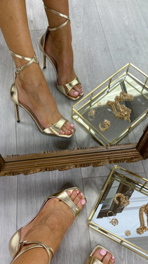 Get That Trend Only Gold Foil Heeled Sandals