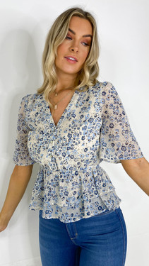 Get That Trend Ivy Lane Nude Floral Print Button Down Blouse
