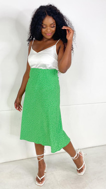 Ivy Lane Green Polka Dot Slip Skirt