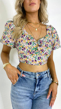 Get That Trend Ivy Lane Rose Puff Sleeve Crop Top